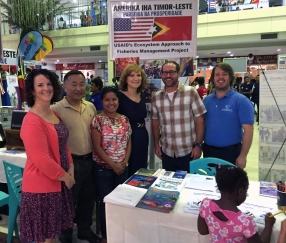 Photo from the U.S. Embassy outreach event. From left to right: Annette DesRochers, NOAA; John Seong, USAID; Flavia Da Silva, USAID; Karen Stanton, U.S. Ambassador for Timor-Leste; Max Sudnovsky, NOAA; Michael Abbey, NOAA.