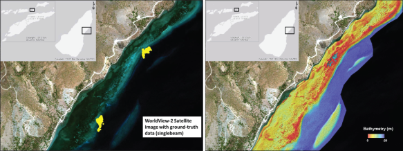 Example of the WorldView-2 satellite image and ground-truth data (left) used to derive bathymetry for the near-shore areas around Timor-Leste (right).