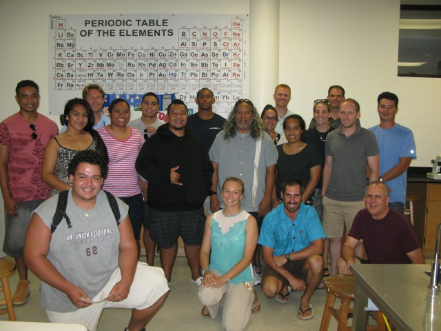 Figure 1. Group shot of ASCC students and instructors, PIFSC scientists and fisherman.
