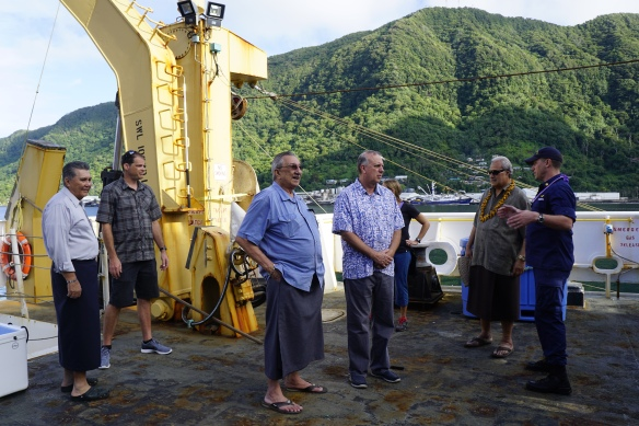 Figure 2. LCDR Golden accompanies Paramount Chief and District Governors on a tour of the NOAA Ship Oscar Elton Sette.