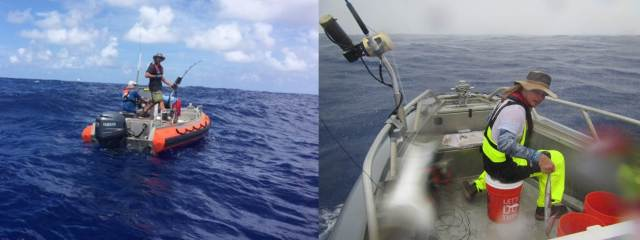 Figure 2. Scientists and fisherman collecting samples during SE16-01. Note: it's not always sunny skies in Samoa.