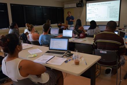 Trainer Matt Gorstein explaining t-test statistical analysis.