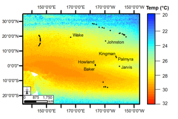 Figure 1a. Sea surface temperature profile for Jarvis Island and Pacific Remote Islands.