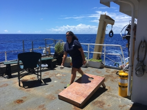 CDR Koes is a great Commanding Officer...and corn hole player! Photo credit: NOAA Fisheries/Amanda Bradford