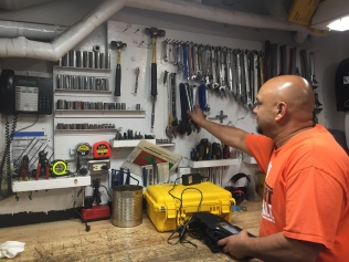 Chief Engineer Caseria prepares for his next project. Photo credit: NOAA Fisheries/Ali Bayless