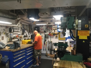 Chief Engineer Caseria at home in his workshop. Photo credit: NOAA Fisheries/Ali Bayless
